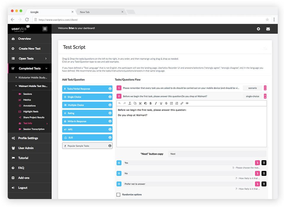 Userlytics marketing campaign test platform